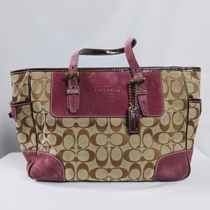 Coach Burgundy Suede Signature Tote Bag As Is